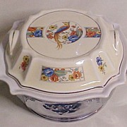 Covered Ceramic Serving Dish in Deep Cradle, Bird and Flowers Motif, circa 1940s