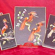 Three Mexican Feather Pictures, Exotic Birds, circa 1950s