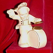 "Chalkware ""Little Drummer"" Figurine, Ivory Oil Paint Finish with Gold Accent, circa 1930-40"