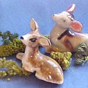 Two Dainty Deer Figures, Reclining Pose, circa 1950s