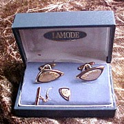 SALE Lamode Brushed Gold Plated Cufflinks and Tie Tack Set in Original Box, circa 1950s