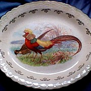 """SALE Incredible Sterling China (with Crown Mark) """"Golden Pheasant"""" Meat Platter, R.K. Beck Design, circa 1917-29"""