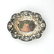 American Sterling Silver Art Nouveau Poppy Repousse Pin or Mint Dish