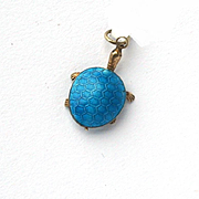 Vintage Chinese Silver Gilt Persian Turquoise Canton Enamel Articulated Turtle Tortoise Charm Pendant