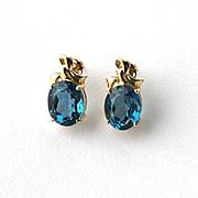 Estate 14k Gold London Blue Topaz Solitaire Post Earrings 8ct tw