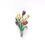 Vintage German 835 silver Enamel Marcasite Flower Tulip Bouquet Brooch