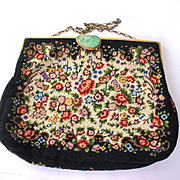 Art Deco Petit Point Needlepoint Floral Gilt Ormolu and Carved Chinese Jade Jewel Clasp Purse