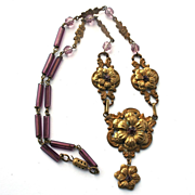 Art Nouveau Czechoslovakian Gilded Brass Amethyst Art Glass Bead Floral Necklace