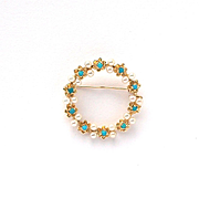 Vintage 14k Yellow Gold Classic Seed Pearl Persian Turquoise Forget me Not Circle Pin Brooch c1910-20