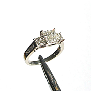 Gorgeous Contemporary Estate 14k White Gold Modified Princess Cut Diamond Engagement or Right Hand Ring sz7