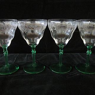 SALE Four  Depression Era Water Glasses by Central Glass Co.