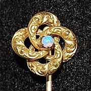 Antique LOVER'S KNOT Stick Pin - 10k Gold / Opal  (Victorian)