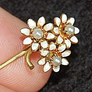 Antique ENAMEL STICK PIN - 14K Gold, Pearls - Flower Clusters  (c1900)