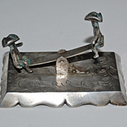 19th Century miniature CONTINENTAL SILVER SEESAW - two figures / movable / hallmarked