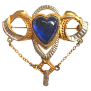 Blue Puff Heart Brooch Arts and Crafts Era
