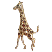 Lovely Kramer NY Figural Tall Giraffe in Gilt and Amber Colored Cabochons