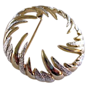 Unique Sarah Coventry Frond Brooch in Gold and Silver Tones