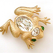 Christian Dior Frog Pin with Huge Glass Stone & Faux Emerald Eyes