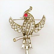 Trifari Alfred Philippe Bird on Branch Pin - Rhinestone Encrusted with Glass Ruby Eye