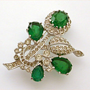Kramer of New York Silver Tone Faux Emerald Brooch