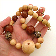 Tibet & Chinese Ching Dynasty Beads - Camel Bone, Carnelian & Sterling Filigree Ruth Frank Large Necklace - Designer Jewelry