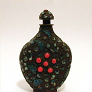 Antique Chinese Snuff Bottle Enamel & Coral Cabochon Jewels