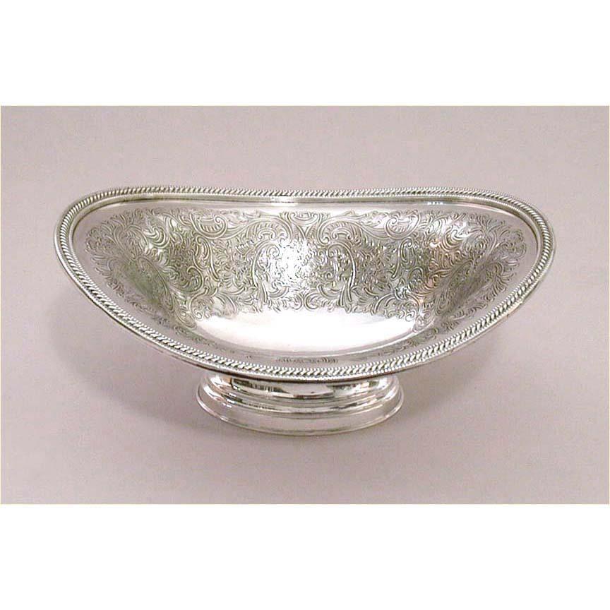 "1912 Ellis Barker Menorah Hallmark Ornate 7"" Silverplate Footed Bowl"