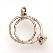 Vintage Sterling Double Wedding Rings Charm Engagement & Band