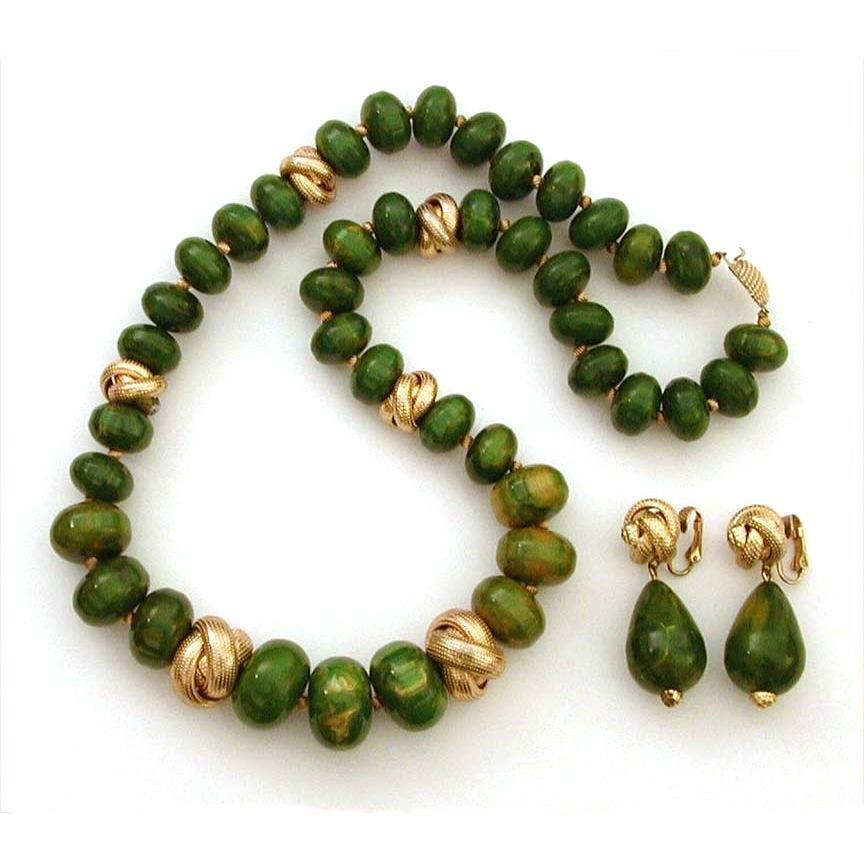 Creamed Spinach Bakelite Necklace & Earrings Signed Marvella