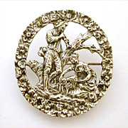 800 Silver Italy Pin Romantic Shepherd Wooing Shepherdess