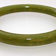 Marbled Light Green Bakelite Bangle Bracelet, Creamed Spinach Bakelite