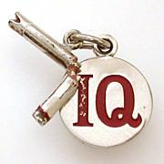 I Quit Sterling with Cold Enamel Double Charm Broken Cigarette & IQ Disc, Bracelet Charm