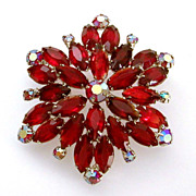 Large Open Back Red Rhinestone Starburst Pin with AB Details