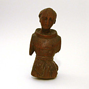 Antique Carved Wood Santo Fragment, Religious Saint Statue