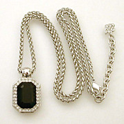 Signed Swarovski Necklace Emerald Cut Black Crystal