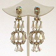 Signed Vogue Chandelier Earrings Crystal AB Beads & Stones