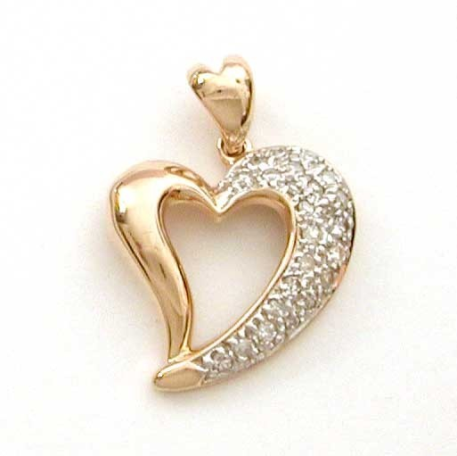 14k Gold Diamond Encrusted Witch's Heart Pendant