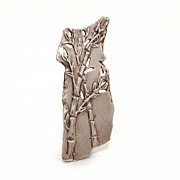 Ancient Style Zen Bamboo Plaque Sterling Pin