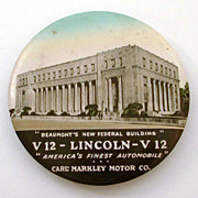 """3.5"""" Cruver Celluloid Mirror Beaumont Texas Lincoln V12 Auto Advertising & Federal Buildi"""
