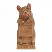 Circa 1930 Cast Iron Still Bank Thrifty the Wise Pig by JMR