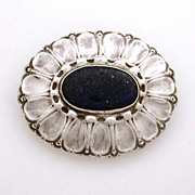 Arts & Crafts German Stuber & Kay 800 Silver Lapis Pin