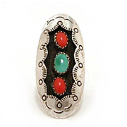Navajo Shadowbox Ring Coral Turquoise & Sterling, Size 6 Native American Jewelry