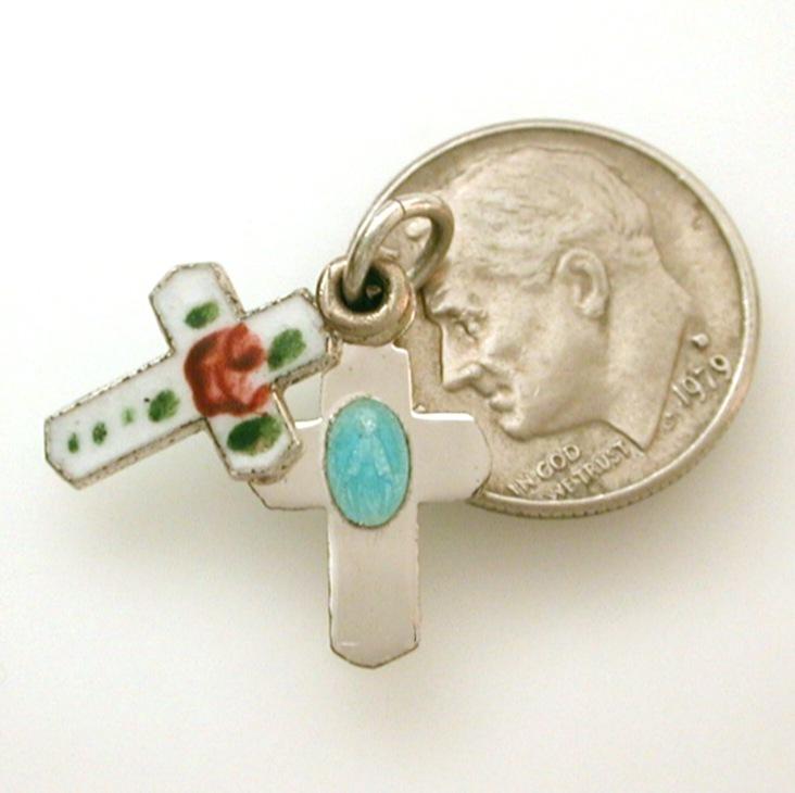 Tiny Doll Size Enamel Sterling Slider Miraculous Medal Cross