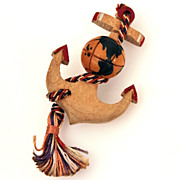 WWII Bakelite Globe on Wood Anchor Red White Blue Cord Pin, Patriotic Homefront Jewelry