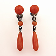 Coral Tear Drop Earrings with Sterling Screw Backs