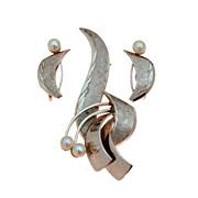 1950 Sterling Cultured Pearls, Designer Signed Uncas, Retro Demi Parure