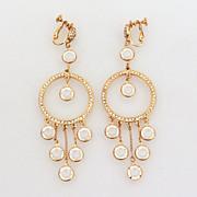 "4"" Shoulder Duster Earrings Collet Set Clear Crystal Dangles"