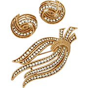 Vintage Trifari Pin & Earrings Set in Twisted Textured Gold Tone with Rows of Clear Chaton Rhi