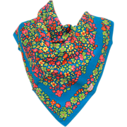 LIBERTY of LONDON Silk Scarf - Flowers in Hot Pink, Pea Green, Yellow, Orange on Bright Blue - Vintage Silk Accessory