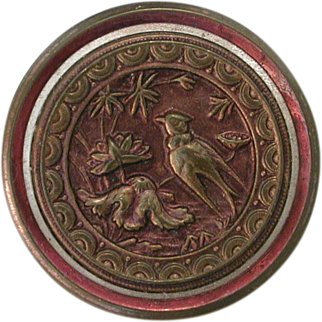 Antique Picture Button Brass with Purple Patina Bird in Fantasy Flowers Victorian Aesthetic Sewing Accessory